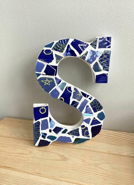 "Mosaic 9"" letter S wall hanger- Sample Sale"