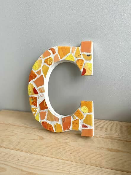 "Mosaic 9"" letter C wall hanger- Sample Sale"