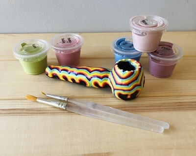 Take Home Homegrown Bisque Pipe with Glazes - Pick up Curbside