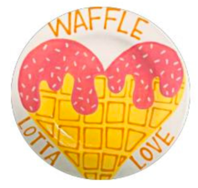 Camp in a Bag! Waffle Lotta Love Rimmed Dinner Plate - Pick up Curbside