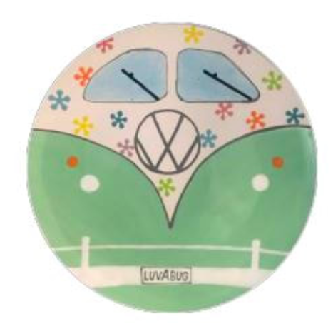 Camp in a Bag! VW Beetle Coupe Dinner Plate - Pick up Curbside