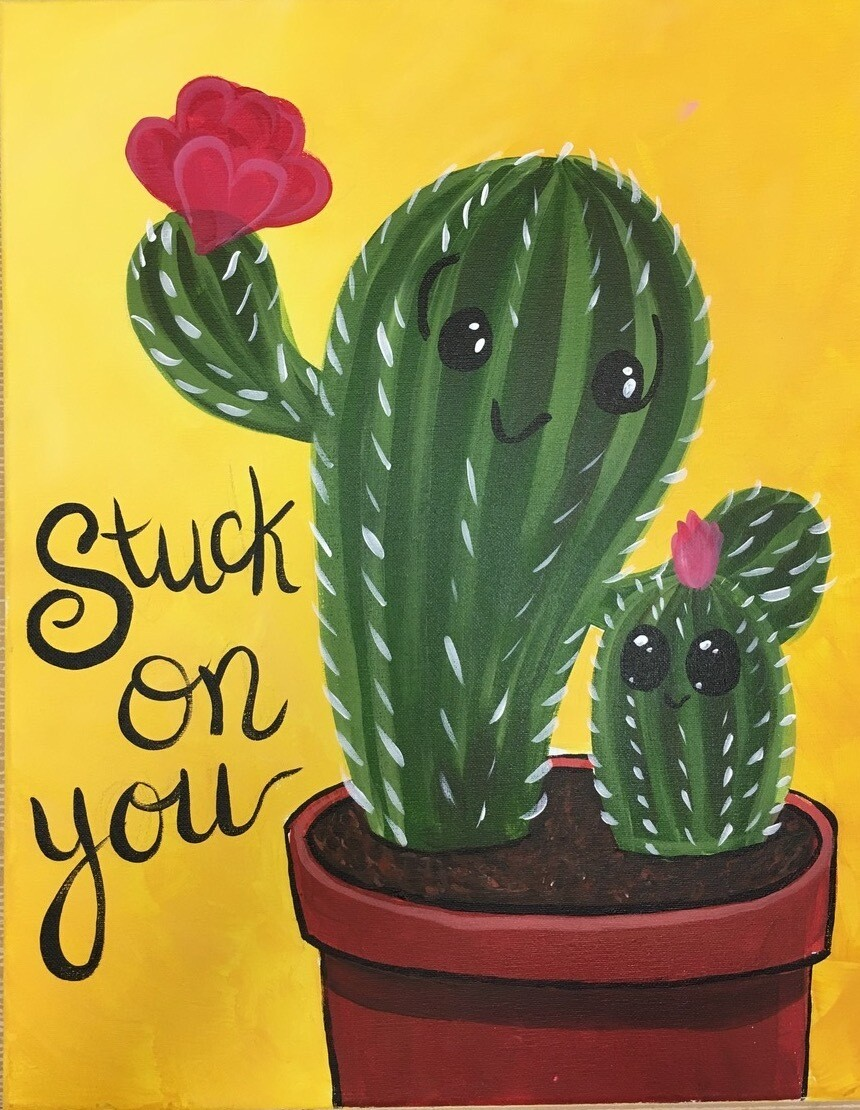 Camp in a Bag! Stuck on You Cactus Canvas  - Pick up Curbside
