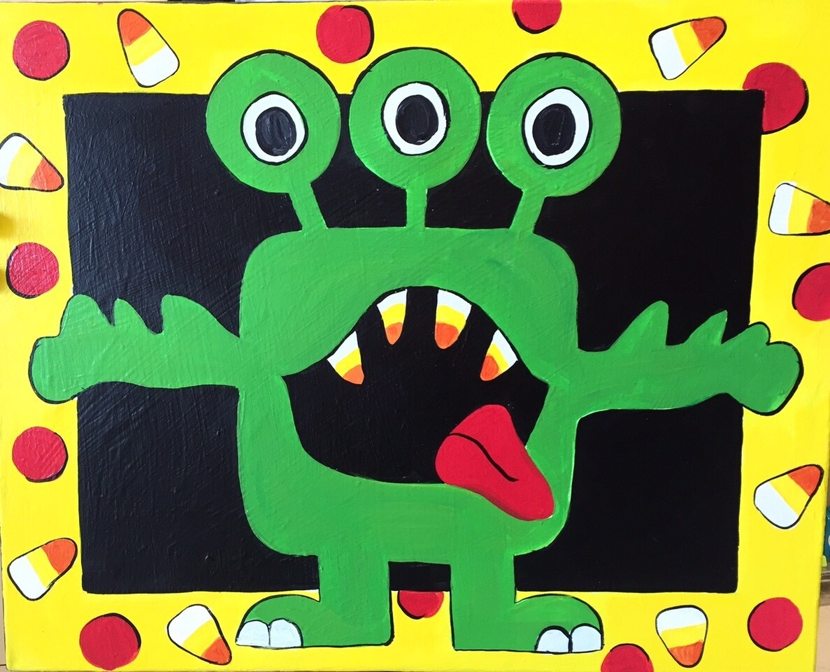 Camp in a Bag! Three Eyed Monster Canvas  - Pick up Curbside