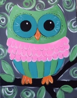 Camp in a Bag! Swirly Owl Canvas  - Pick up Curbside