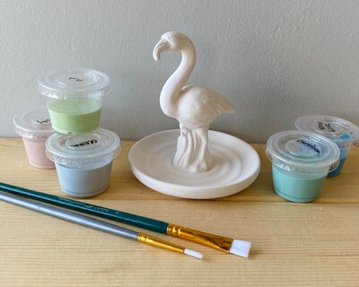 Take Home Flamingo Ring Holder with Glazes - Pick up Curbside