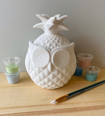 Take Home Owl Pineapple Jar with Glazes - Pick up Curbside