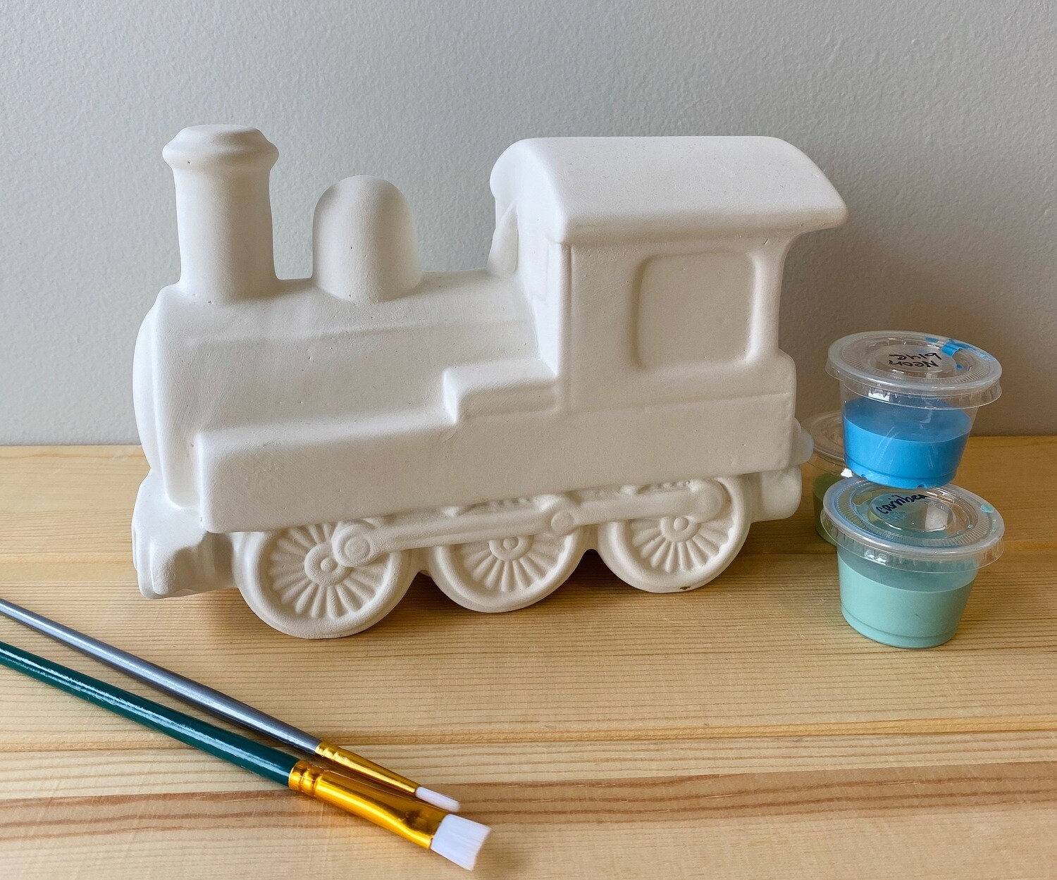 Take Home Train Bank with glazes - Pick up Curbside
