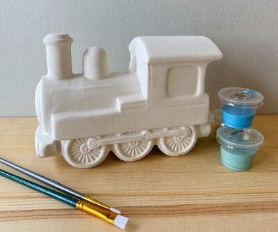 Take Home Train Bank with glazes - Pick up Curbside