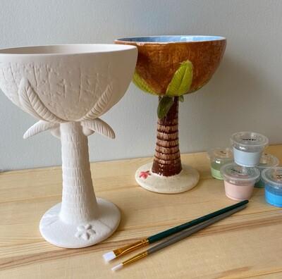 Take Home Bahama Mama Margarita Glass with Glazes - Pick up Curbside