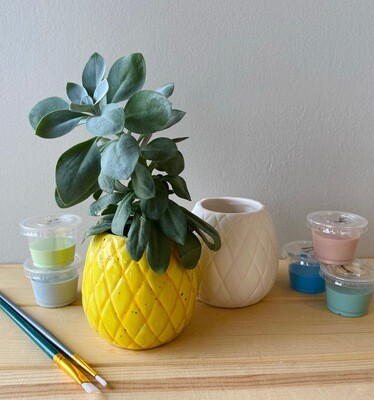 Take Home Pineapple Planter  with Glazes - Pick up Curbside