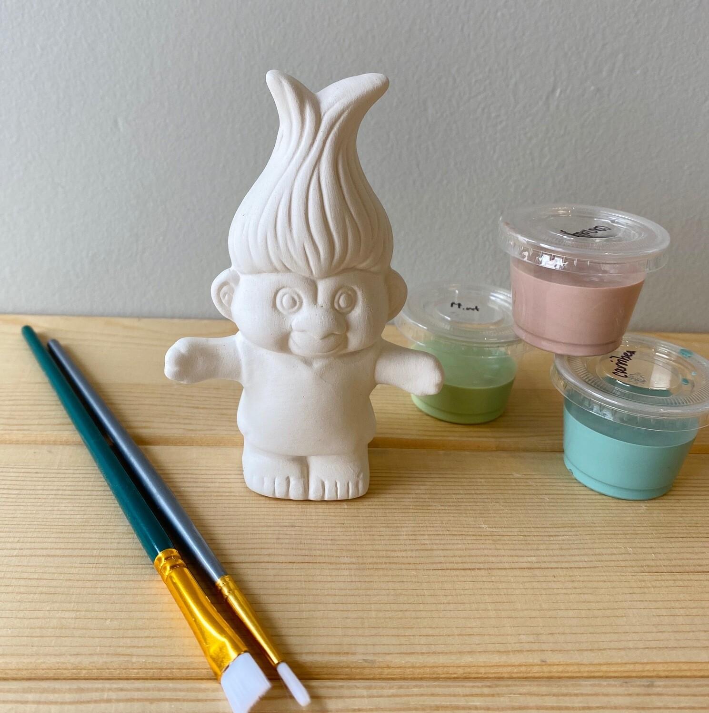 "Take Home 4.25"" Troll Figurine with glazes - Pick up Curbside"