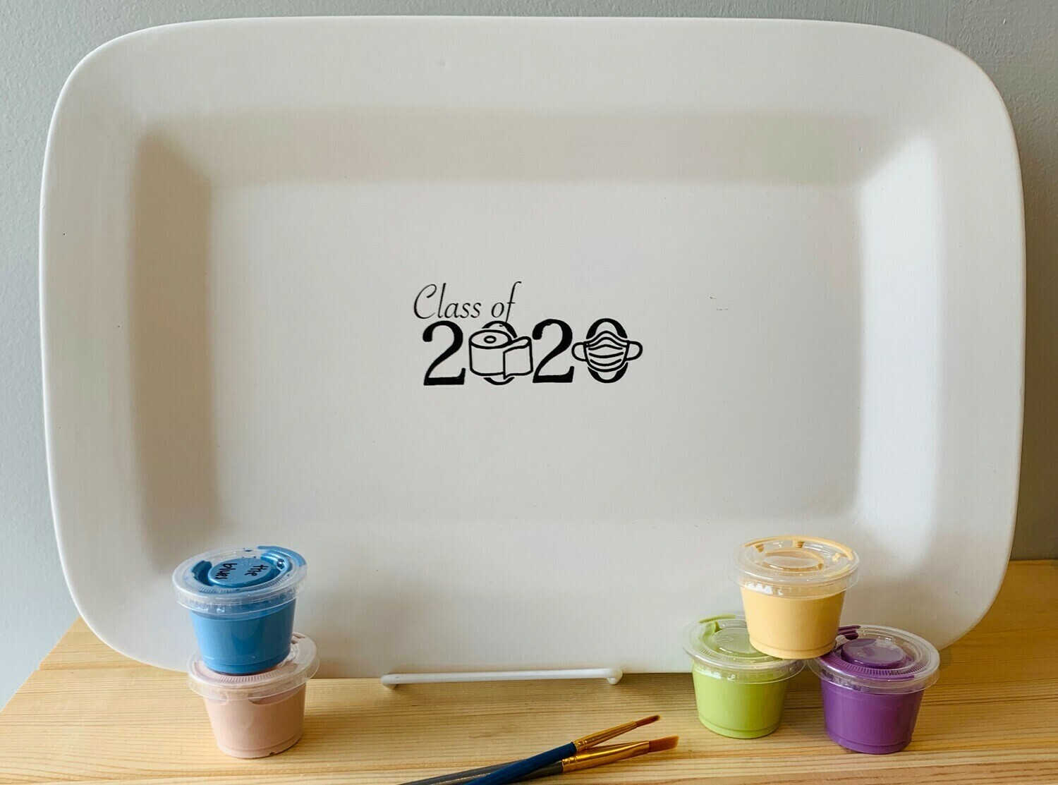 Take Home Coloring Book Class of 2020 Rectangle Rimmed TP Platter with Glazes - Pick up Curbside