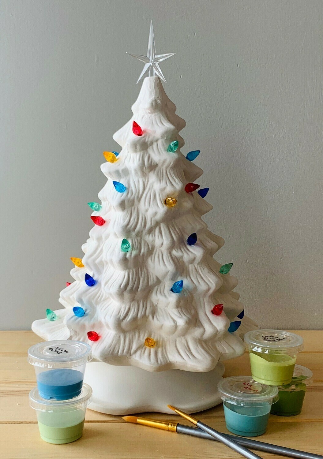 "Take Home Vintage 11"" Lighted Christmas Tree with Glazes - Pick up Curbside"