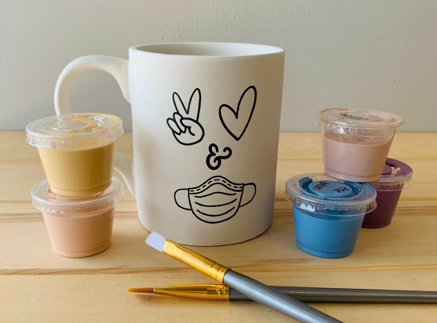 Take Home Coloring Book 12 oz Peace, Love, Mask Mug with Glazes - Pick up Curbside