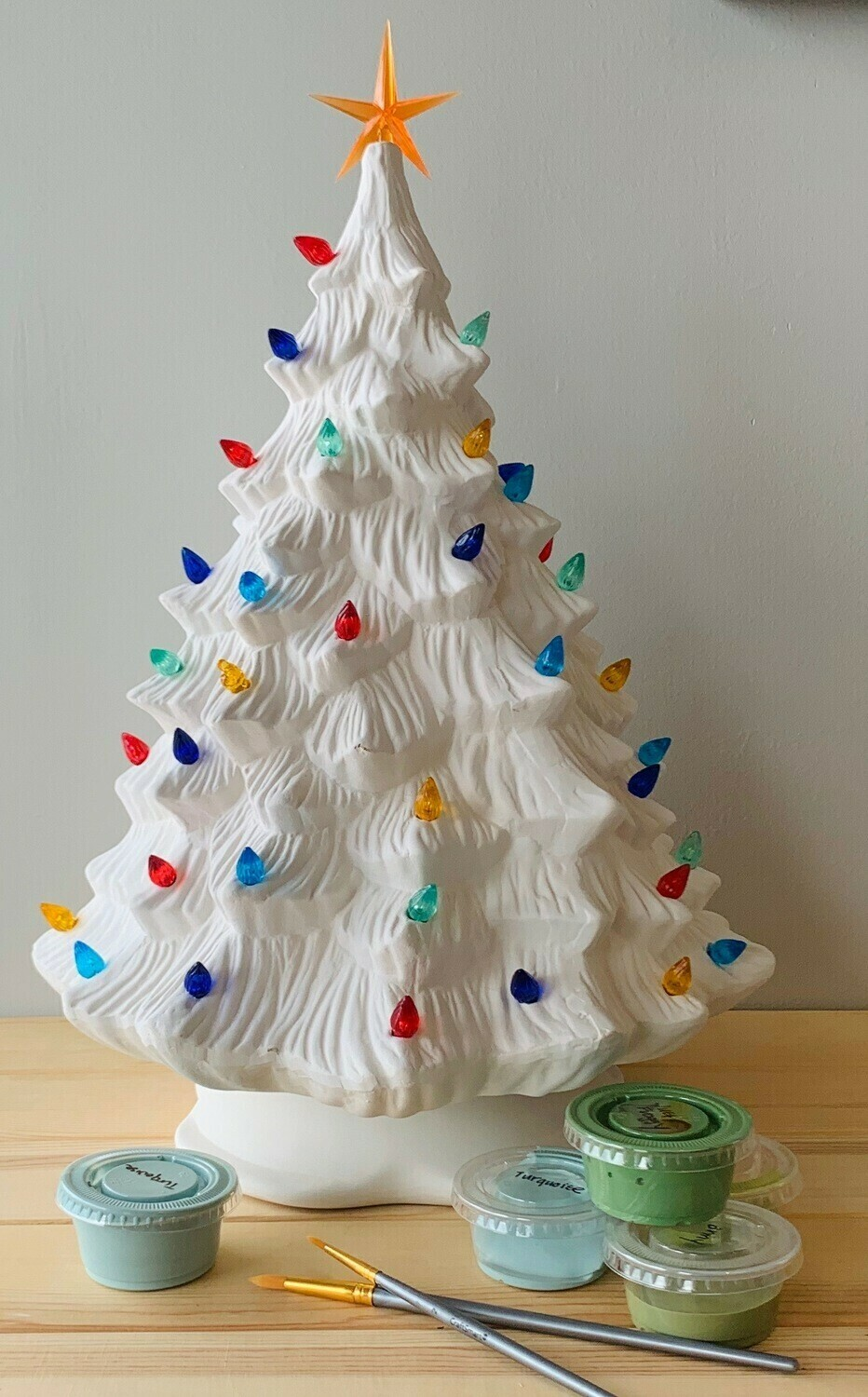 """Take Home Vintage 16"""" Lighted Christmas Tree with Glazes - Pick up Curbside"""