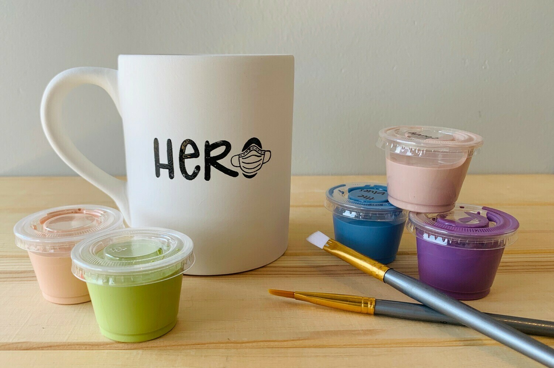 Take Home Coloring Book 12 oz Hero Nurse / Doctor Mug with Glazes - Pick up Curbside