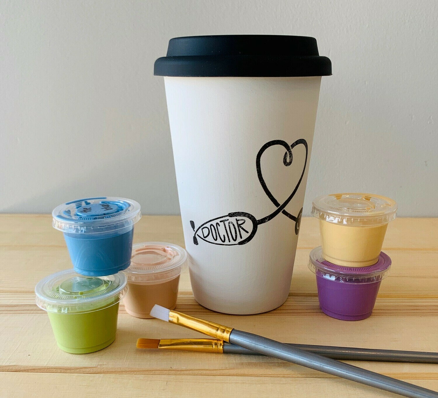 Take Home Coloring Book 16 oz Doctor Stethoscope Travel Mug with Glazes - Pick up Curbside
