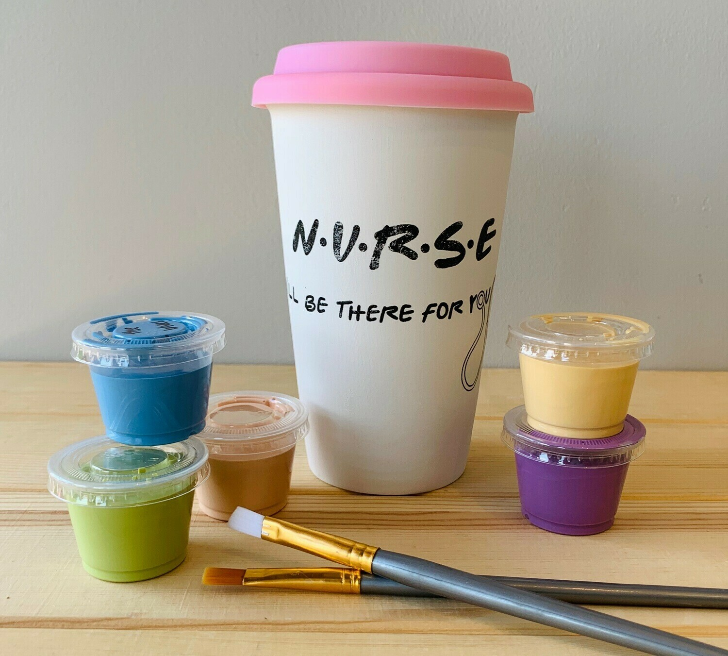 "Take Home Coloring Book 16 oz Nurse ""I'll Be There For You"" Travel Mug with Glazes - Pick up Curbside"
