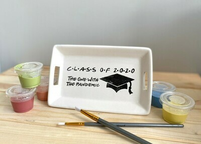 Take Home Coloring Book Class of 2020 Friends Small Tray with Handles with Glazes - Pick up Curbside