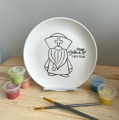 Take Home Coloring Book Stay Gnome Nurse / Doctor Plate with Glazes - Pick up Curbside