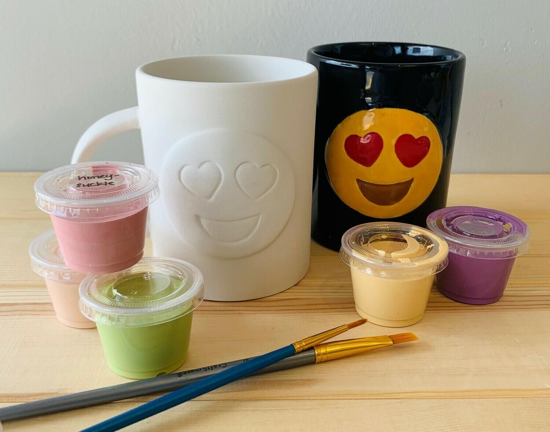 Take Home Emoji Mug with glazes  - Pick up Curbside