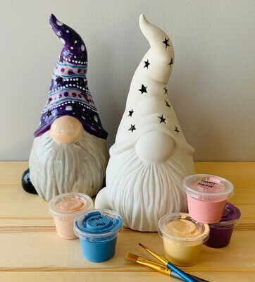 Take Home Gnome Lantern with Glazes - Pick up Curbside