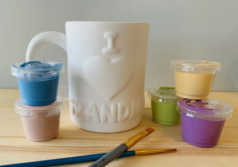 Take Home I Love Grandma Mug with glazes - Pick up Curbside
