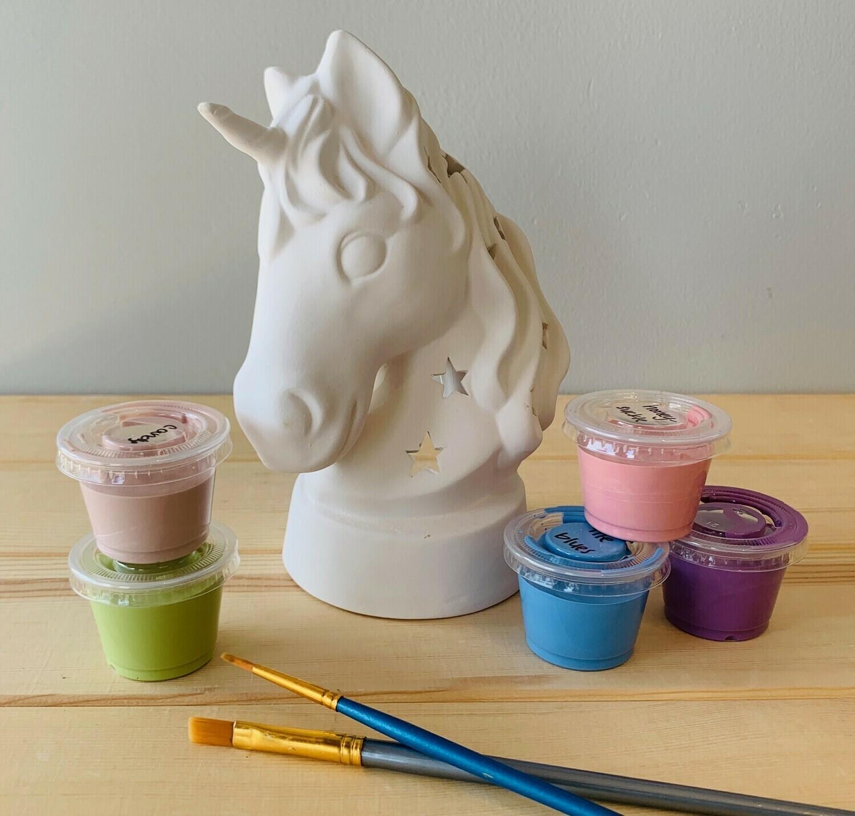 Take Home Unicorn Lantern with glazes  - Pick up Curbside