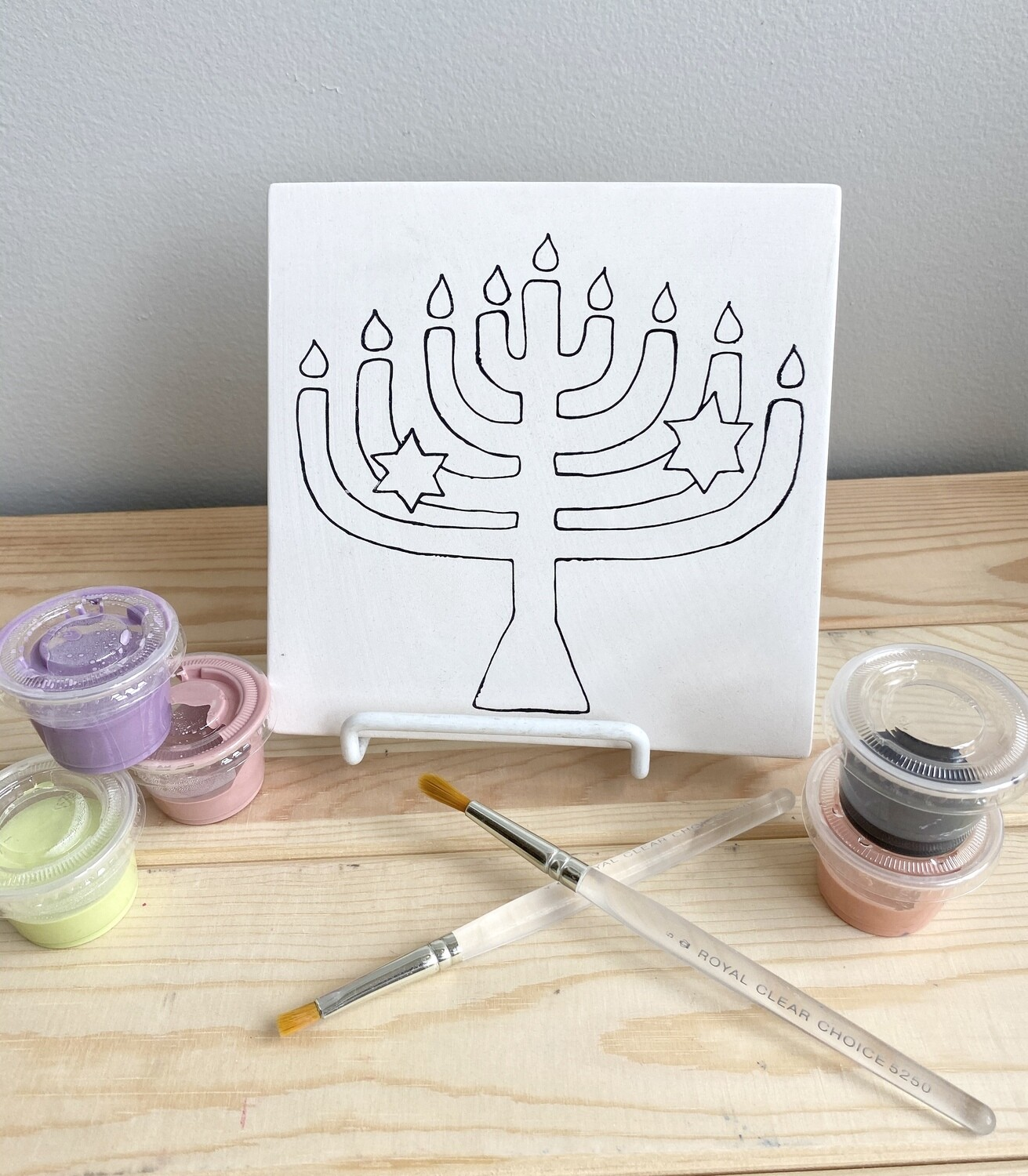 Take Home Menorah Tile with Glazes- Pick Up Curbside