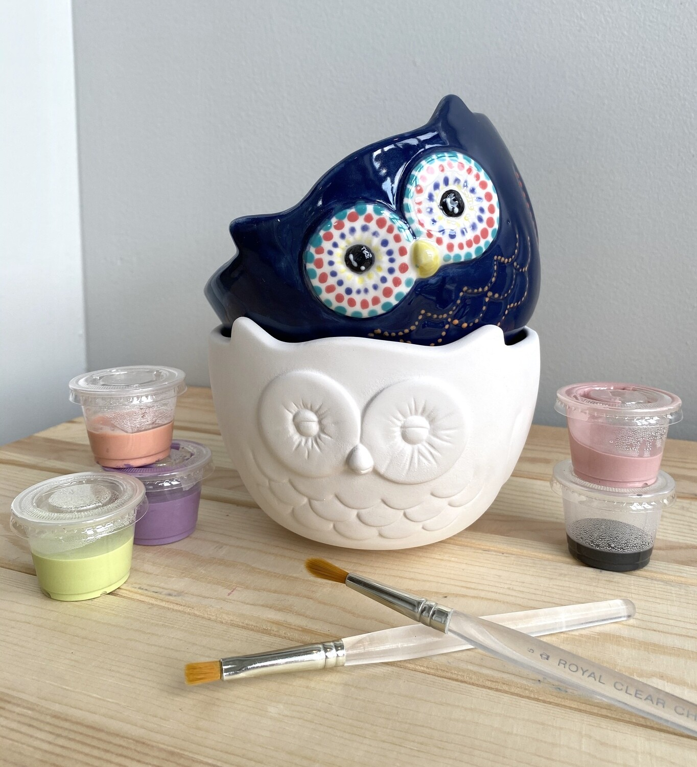 Take Home Owl Bowl with Glazes- Pick Up Curbside