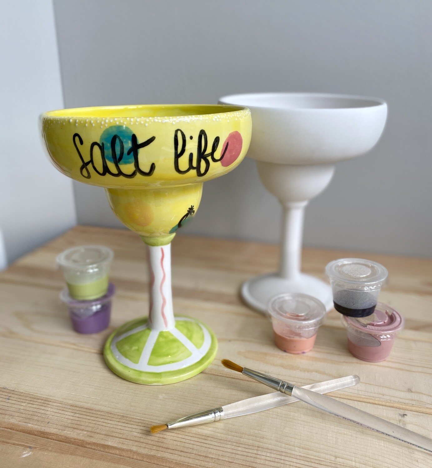 Take Home Margarita Glass with Glazes- Pick Up Curbside