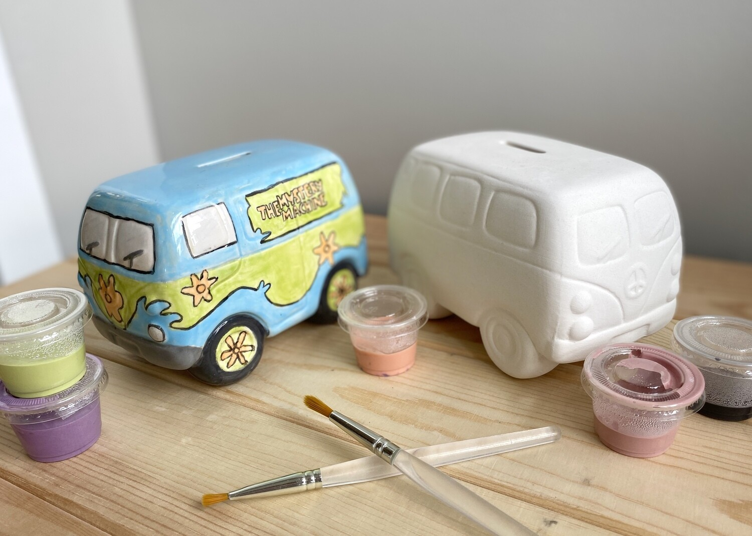 Take Home Hippie Van Bank with Glazes- Pick Up Curbside