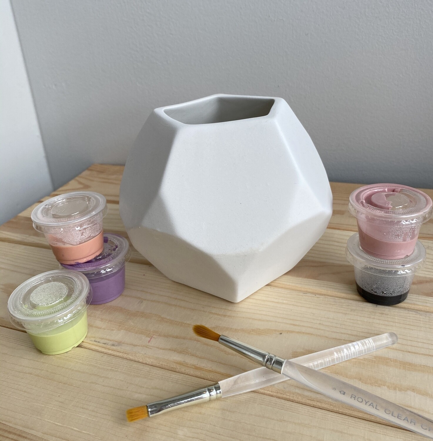 Take Home Faceted planter with Glazes- Pick Up Curbside