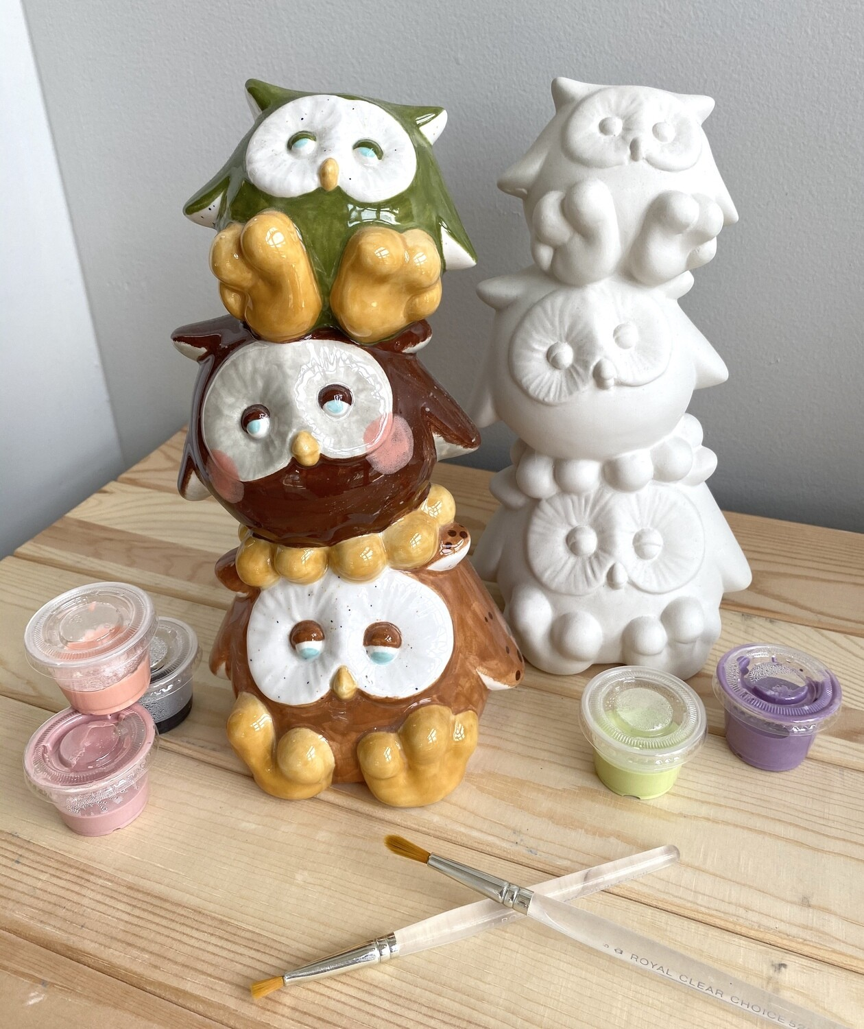 Take Home Stacked owl bank with Glazes- Pick Up Curbside