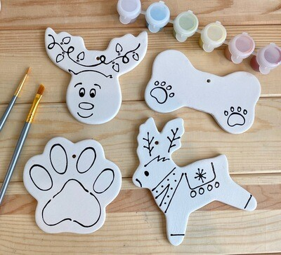 Take Home Coloring Book 4 Holiday Animal Ornaments Kit with Glazes - Pick up Curbside