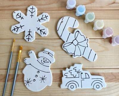 Take Home Coloring Book 4 Ornaments Kit with Glazes - Pick up Curbside