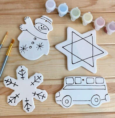 Take Home Coloring Book 4 Winter & Hanukkah  Themed Ornaments Kit with Glazes - Pick up Curbside