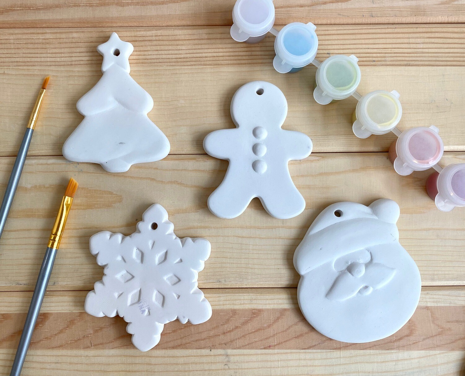 Take Home Coloring Book 4 Small Flat Ornaments Kit with Glazes - Pick up Curbside