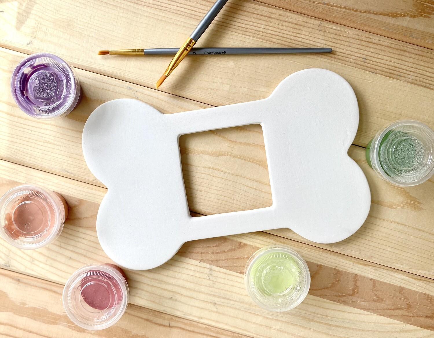 Take Home Dog Bone Picture Frame with Glazes- Pick Up Curbside