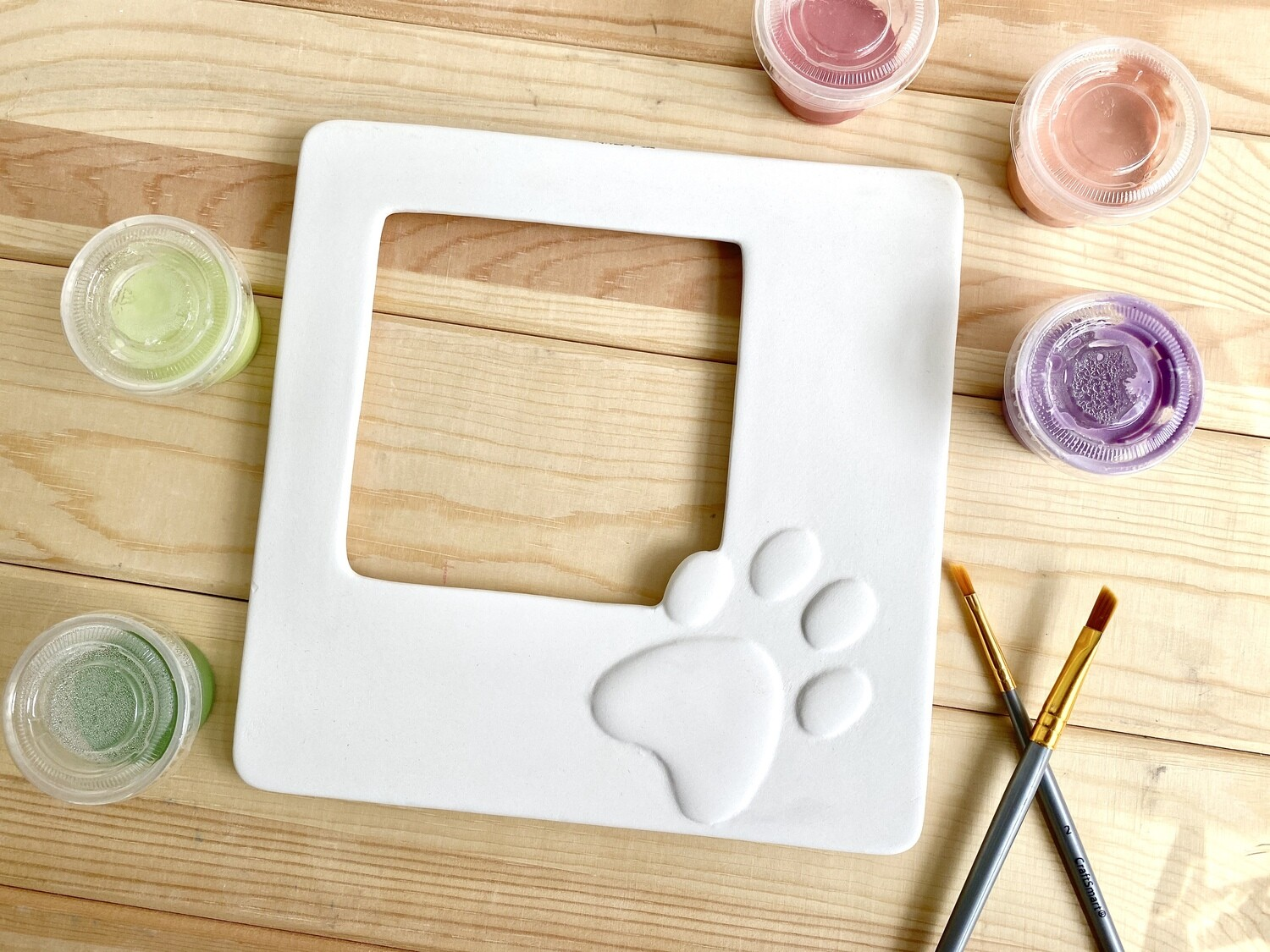 Take Home Paw Print Picture Frame with Glazes- Pick Up Curbside