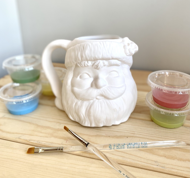 Take Home Vintage Santa Mug with Glazes- Pick up curbside