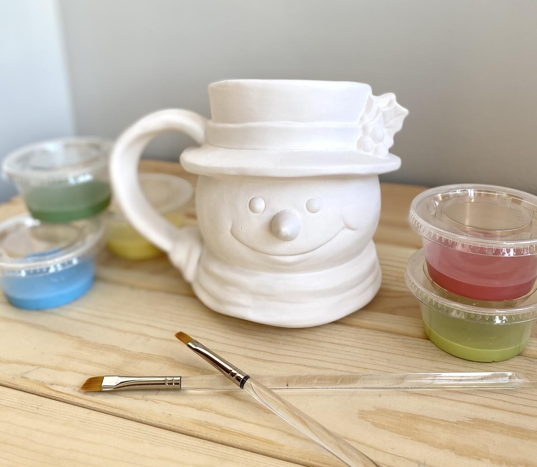 Take Home Vintage Snowman Mug with glazes- Pick up curbside