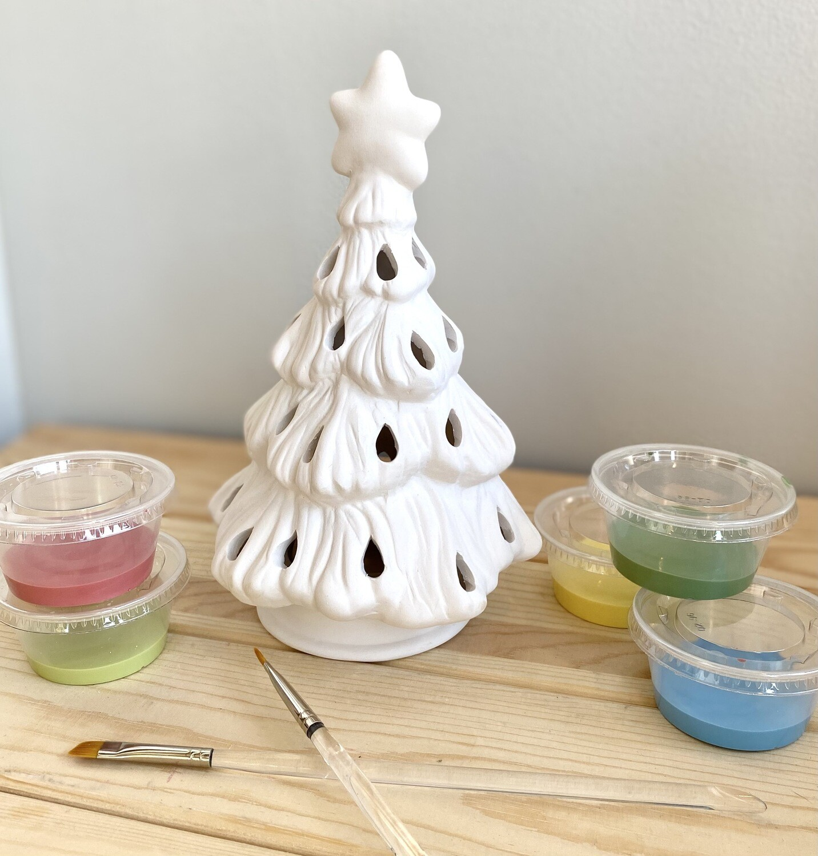 Take Home 2 Piece Tree Votive with Glazes- Pick up curbside