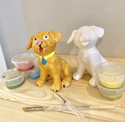Take Home Sitting Dog with Glazes - Pick up Curbside