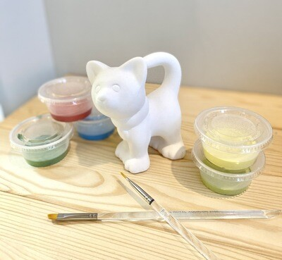 Take Home Standing Cat with Glazes - Pick up Curbside