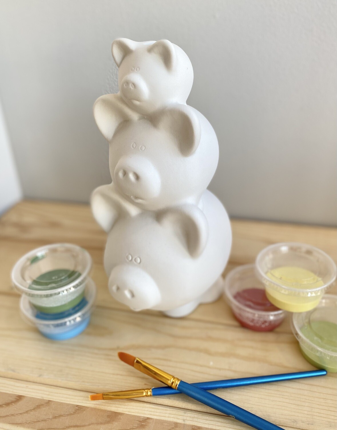Take Home Stacked Pig Pile Bank with Glazes - Pick up Curbside