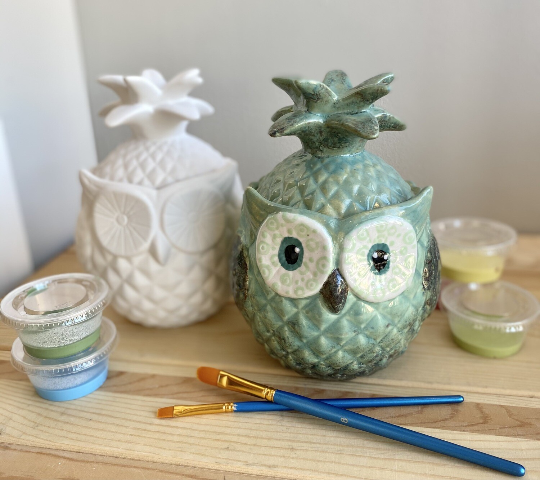 Take Home Owl Pineapple Jar with Glazes - Pick up Curbside