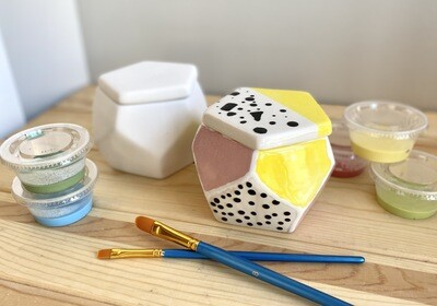 Take Home Faceted Box with Glazes - Pick up Curbside