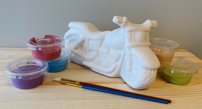 Take Home Motorcycle Bank with Glazes - Pick up Curbside