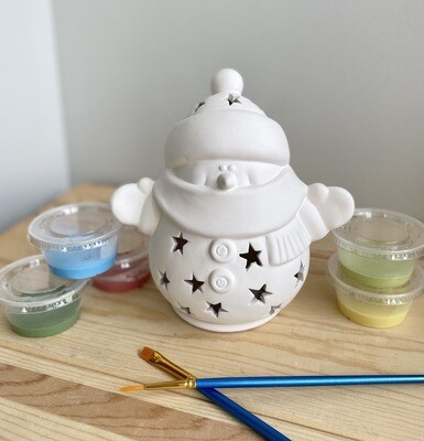 Take Home Snuggles The Snowman Lantern with Glazes- Pick Up Curbside